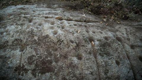 Detalle de los grabados rupestres de Pena da Lagarta