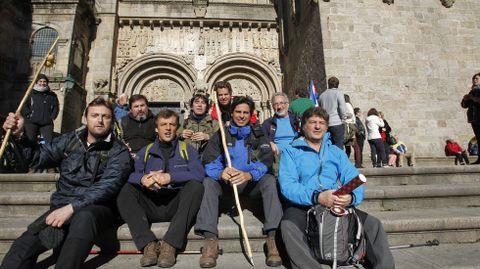 Fran Rivera con los compañeros con los que realizó el Camino de Santiago.