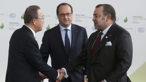Ban Ki Moon, Hollande y Mohammed VI, de Marruecos.
