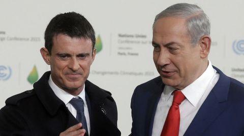 El primer ministro francés (Manuel Valls) y el primer ministro de Israel (Benjamin Netanyahu).