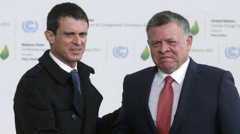Valls con el rey de Jordania Abdullah.