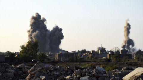 Uno de los ataques aéreos de la coalición internacional.