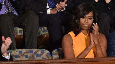 Michelle Obama, durante el último debate sobre el Estado de la Unión de su marido como presidente del Gobierno
