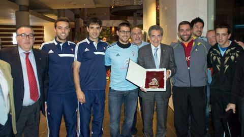 Con el presidente, Carlos Mouriño, Oubiña y Sergio