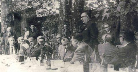 Álvaro Cunqueiro cuando fuera pregonero de la popular fiesta del Albariño.