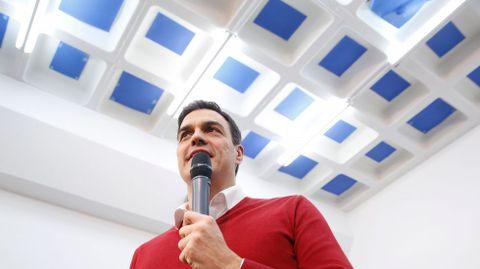 Pedro Sánchez, durante el acto del PSOE coruñés.
