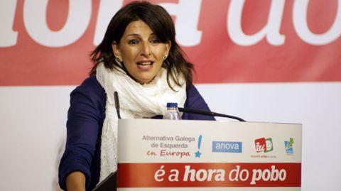 Yolanda Díaz, en un mitin de AGE