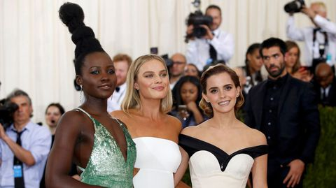 Las actrices Lupita Nyong'o, Margot Robbie y Emma Watson.