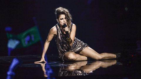 La española Barei, durante su actuación.