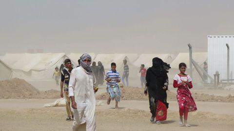 Refugiados iraquís en un campamento habilitado para acoger a los vecinos de la localidad de Faluya que huyen de losa combates entre las tropas regulares y los soldados del Estado Islámico.