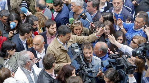 Acto del candidato del PSOE Pedro Sanchez en Pontevedra.