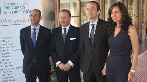 Daniel Carreño, Pablo Junceda, Jesús Alonso e Isabel Lara, en el hotel de La Reconquista