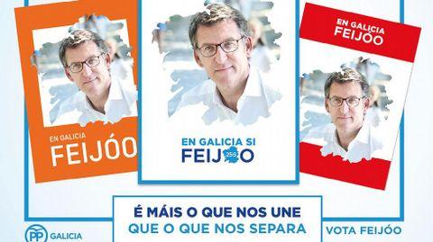 Feijoo estrena hoy, último día de campaña, folletos y carteles, como el de la izquierda, dirigido a votantes de Ciudadanos y el e la derecha, a los del PSOE.