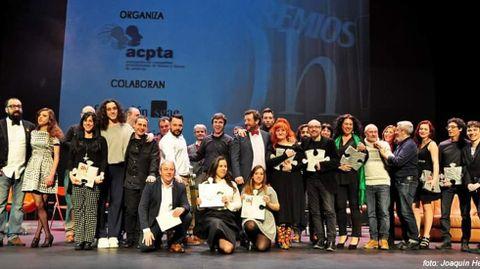 Profesionales de la escena asturiana durante una entrega de los Premios Oh!
