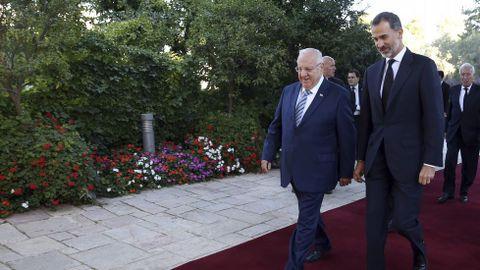 El rey Felipe VI y el presidente israelí, Reuven Rivlin.