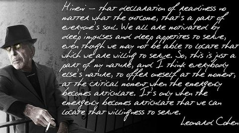 Un texto manuscrito de Cohen sobre su pieza «Hineni»