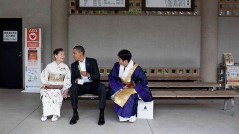Disfrutando de un helado de te verde en Japón