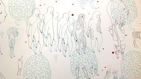 Un detalle del mural de Fernando Gutiérrez «The Brain of the Planet»
