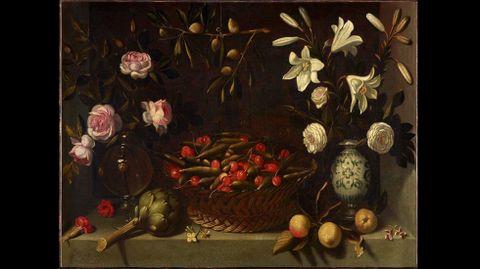 Juan Van Der Hamen y León. «Bodegón con frutas, alcachofa y flores o Cesta de guistantes y cerezas con floreros» (hacia 1621)