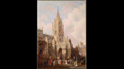 Jenaro Pérez Villaamil. «Vista de la catedral de Oviedo con una procesión» (1837)