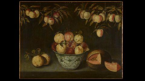 Alejandro de Loarte. «Bodegón con frutero de cerámica con granadas y otras frutas»