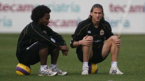 Con Filipe Luis en un entrenamiento