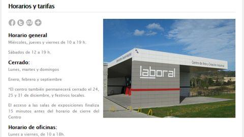 Web de LABoral, con el anuncio de los nuevos horarios del centro