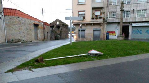 Daños en el entorno de Arzobispo Malvar en Pontevedra.