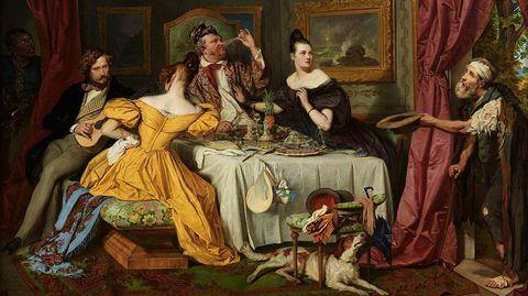 «El hombre rico y el mendigo Lázaro» (1836), obra de Josef Danhauser, inspirada en la parábola del evangelio de Lucas (Viena, Österreichische Galerie Belvedere)