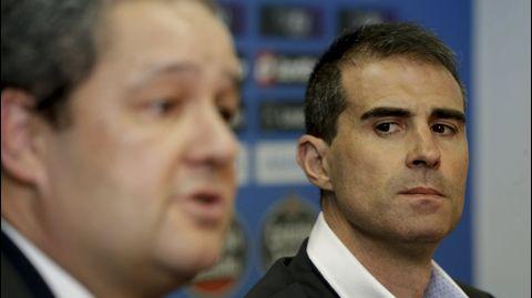 Durante su presentación como entrenador del Deportivo