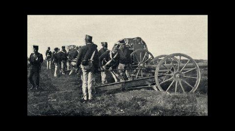 Preparativos de una de las baterías de artillería desplazadas a Bóveda