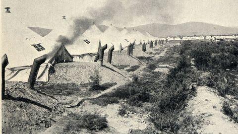 Un aspecto de los hornos de campaña utilizados en el campamento