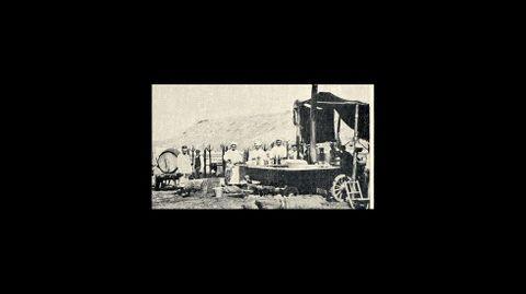 Una cocina de campaña en la que se preparó el rancho servido a las tropas que tomaron parte en las maniobras