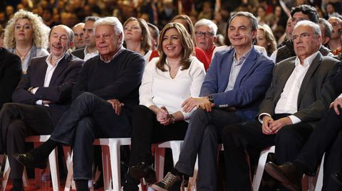 Susana Díaz, Felipe González, José Luis Rodríguez Zapatero, Alfonso Guerra y Alfredo Pérez Rubalcaba