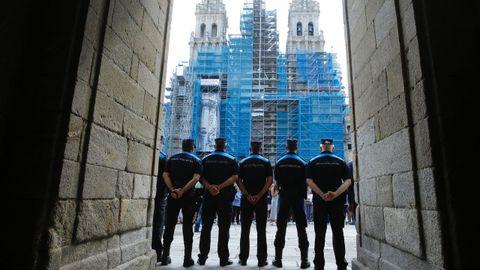 Fuerzas de seguridad en la Plaza del Obradoiro