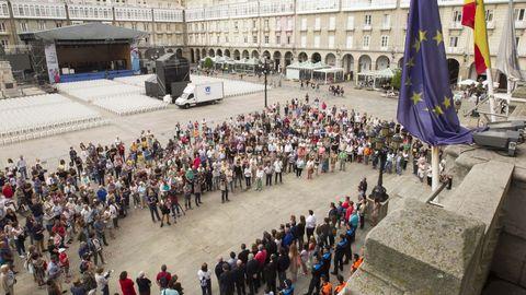 Minuto de silencio por el atentado de Barcelona en María Pita, A Coruña