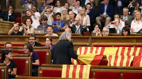 La diputada de Podem que retiró las banderas se rebela contra Pablo Iglesias