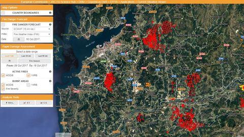 Los incendios en Galicia, captados por el sistema de monitorización del fuego de la Comisión Europea
