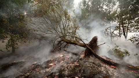 El fuego calcinó buena parte del monte Outeiro, en Chavaga