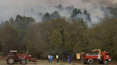 En Cereixa, el fuego estuvo muy cerca de las casas