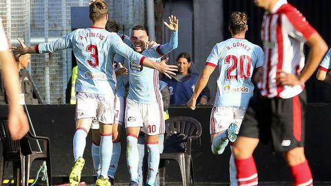 Uno de sus goles frente al Athletic Club el domingo