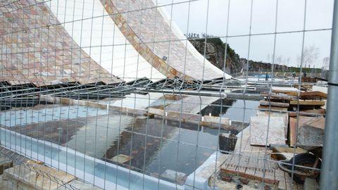 Inundaciones en la obras del Gaiás, en Santiago