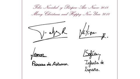 El mensaje y las firmas que acompañan a la imagen de la felicitación de los reyes