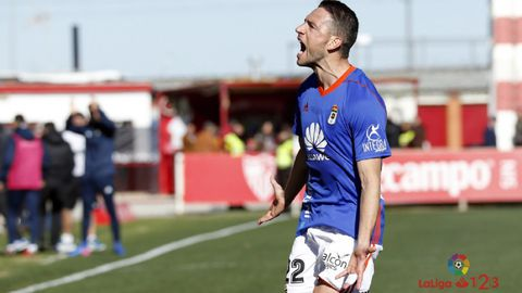 Gol Rocha Real Oviedo Sevilla Atletico.Rocha celebra su tanto frente al Sevilla Atletico
