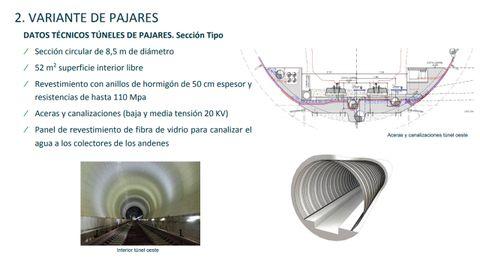 Diapositiva con el proyecto final de la Variante de Pajares