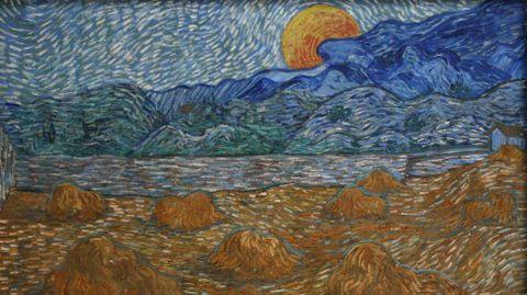 «Paisaje con gavillas de trigo y salida de luna» (1889). Kröller-Müller Museum. Otterlo (Holanda). Van Gogh pintó ese anochecer, donde la luna llena emerge sobre un horizonte con nubes, cuando estaba ingresado en un sanatorio psiquiátrico de Saint-Rémy-de-Provence. La luz anaranjada que el pintor quiso para la luna dialoga con el color de la mies. Los cálculos astronómicos sobre las fases lunares y la evidencia del trigo segado nos permiten saber que esa imagen corresponde al sábado 13 de julio de 1889