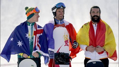Pierre Vaultier de Francia, oro; Jarryd Hughes de Australia, plata; Regino Hernandez, de bronce.