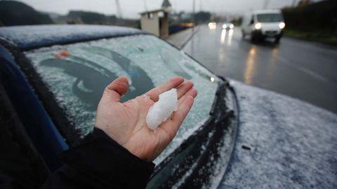 Nieve en Pastoriza, muy cerca de A Coruña