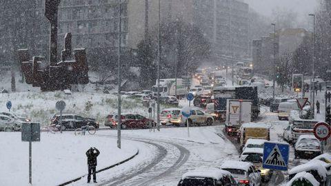 Tempral de nieve en San Sebastián