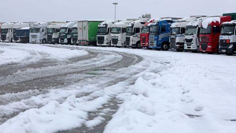 Camiones estacionados en el´Àrea de Guissona (Lleida) en la A2